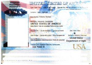通関の時の必要書類であるパスポート顔写真ページのサンプル